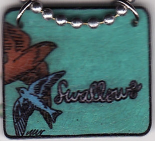 :: closeup :: Swallows Shrink Art Necklace by Ladymade